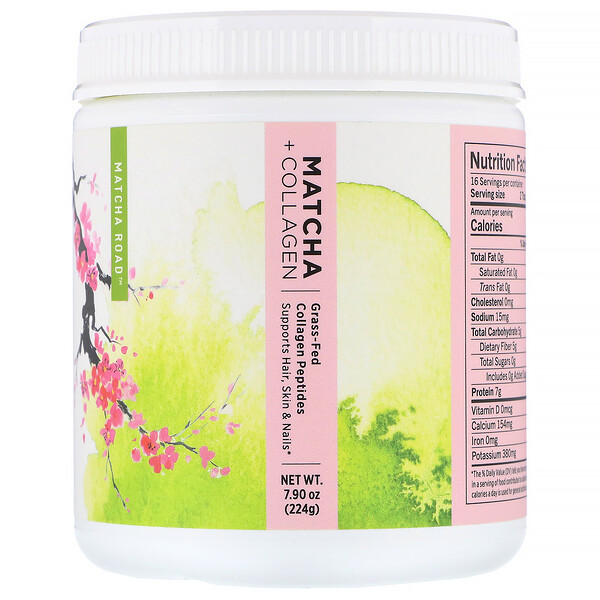 Matcha Road, Matcha + Collagen, Grass-Fed Collagen Peptides, 7.9 oz (224 g)