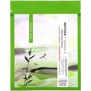 Matcha Road, Matcha más vitaminaC, Paquete de prueba (jengibre cítrico, pitahaya, sabor original), 3sobres, 5g (0,18oz) cada uno