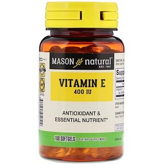 Mason Natural, ビタミンE、400 IU、ソフトジェル100錠