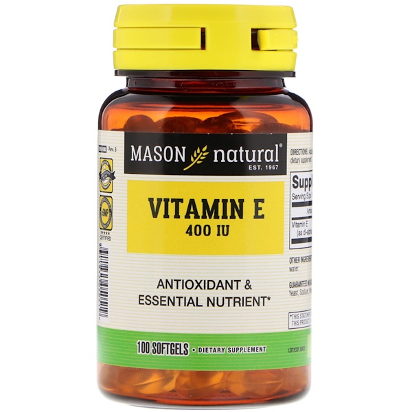 Mason Natural, Vitamin E, 400 IU, 100 Softgels