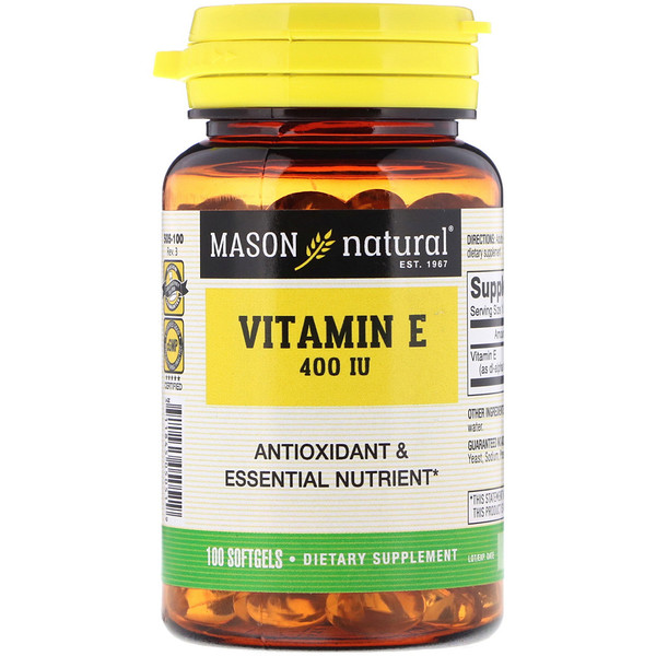 Mason Natural, Vitamine E, 400 UI, 100 Softgels