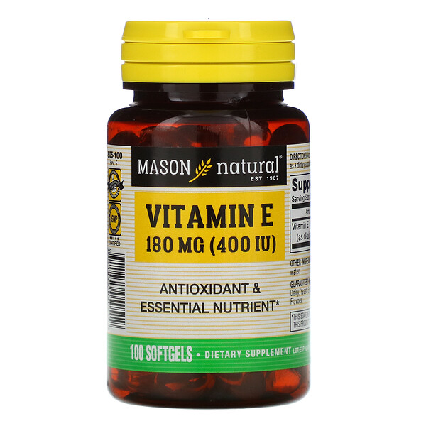 Mason Natural, Vitamin E, 180 mg (400 IU), 100 Softgels