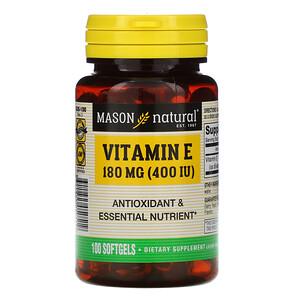 Масон Натуралс, Vitamin E, 180 mg (400 IU), 100 Softgels отзывы покупателей