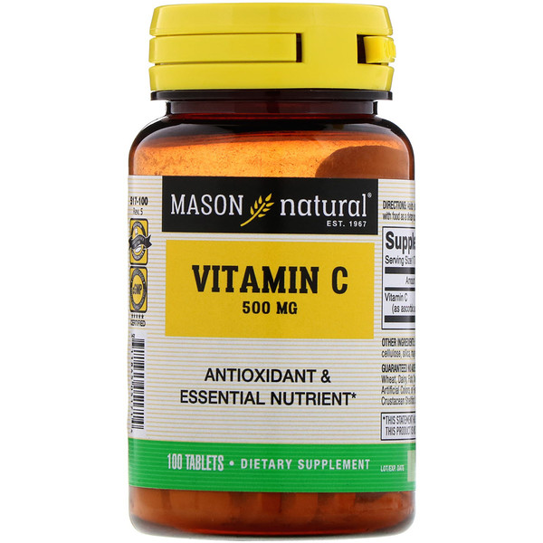 Mason Natural, Vitamina C, 500 mg, 100 comprimidos