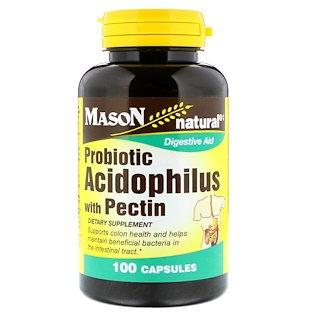 Mason Natural, Probiotic Acidophilus With Pectin, 100 Capsules