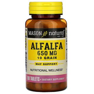 Mason Natural, Alfalfa, 10 Grain, 650 mg, 100 Tablets