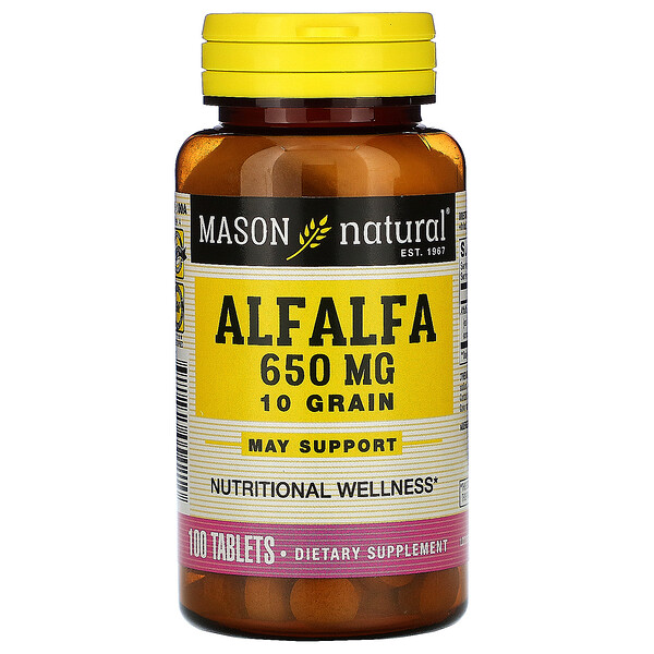 Alfalfa, 10 Grain, 650 mg, 100 Tablets