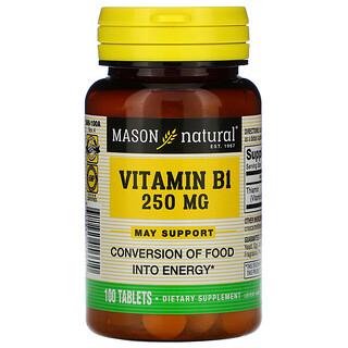 Mason Natural, VitaminaB1, 250mg, 100comprimidos
