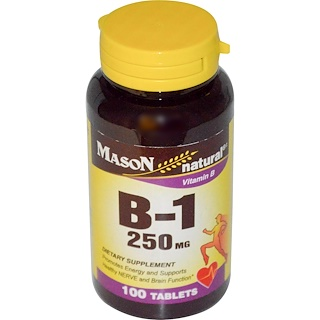 Mason Naturals, 비타민 B-1, 250 mg, 100 태블릿
