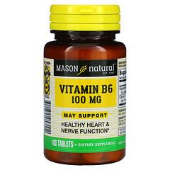 Mason Natural, 維生素B 6,100 微克,100 片