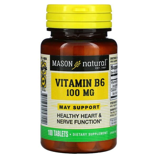 Mason Natural, Vitamin B6, 100 mg, 100 Tablets