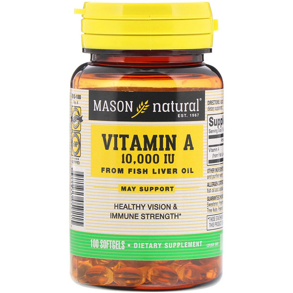 Mason Natural, Vitamin A, 10,000 IU, 100 Softgels