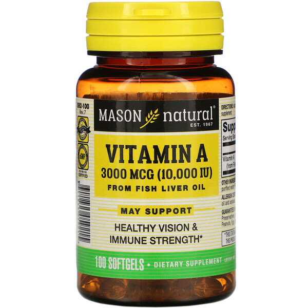 Mason Natural, Vitamin A from Fish Liver Oil, 3,000 mcg (10,000 IU), 100 Softgels