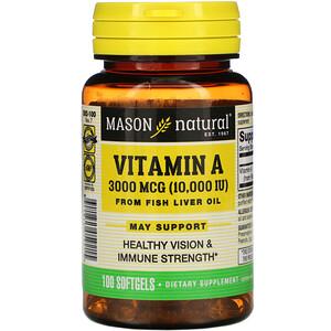 Масон Натуралс, Vitamin A from Fish Liver Oil, 3,000 mcg (10,000 IU), 100 Softgels отзывы