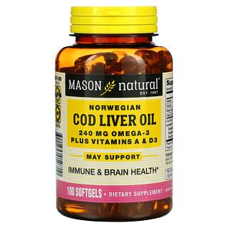 Mason Natural, Norwegian Cod Liver Oil Plus Vitamins A & D3, 100 Softgels