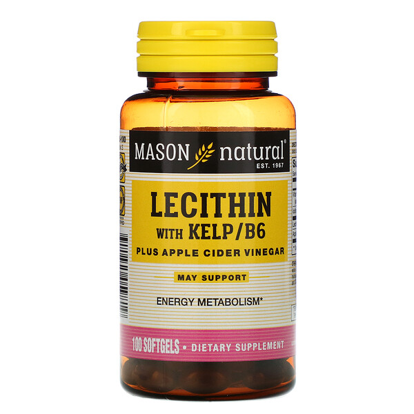 Mason Natural, Lecithin with Kelp/B6 Plus Apple Cider Vinegar, 100 Softgels