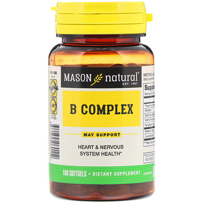 Mason Natural B Complex, 100 Softgels