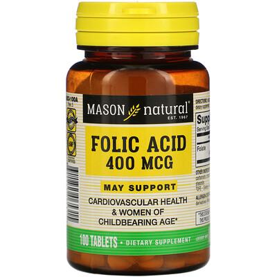 Mason Natural Folic Acid, 400 mcg, 100 Tablets
