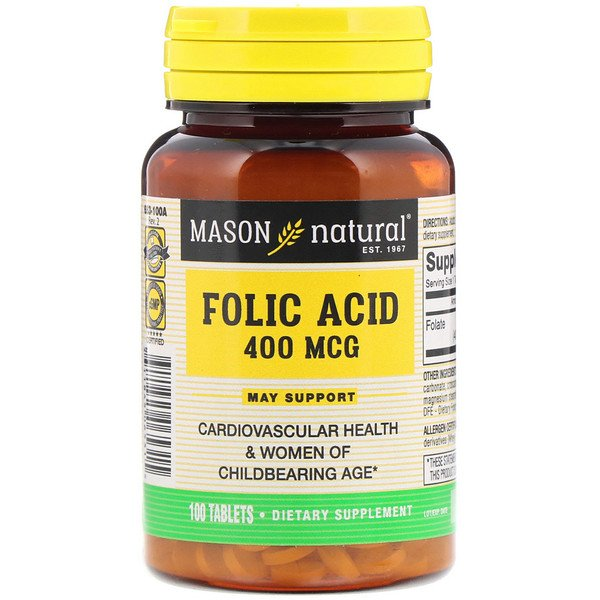 Folic Acid, 400 mcg, 100 Tablets