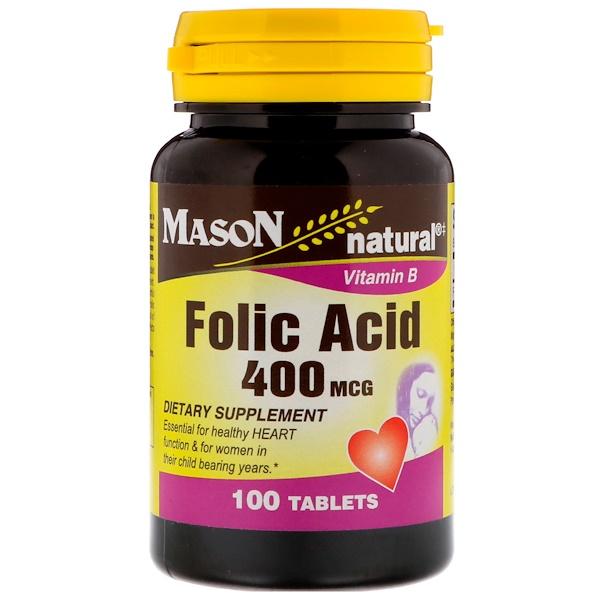 Mason Natural, 葉酸,400 微克,100 片