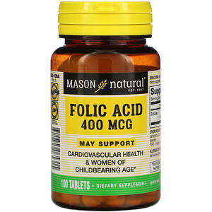 Масон Натуралс, Folic Acid, 400 mcg, 100 Tablets отзывы