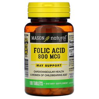 Mason Natural, Ácido fólico, 800 mcg, 100 tabletas