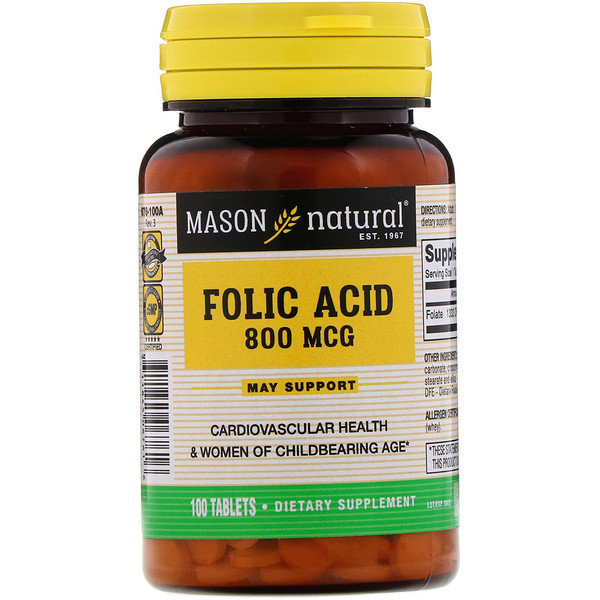 Folic Acid, 800 mcg, 100 Tablets