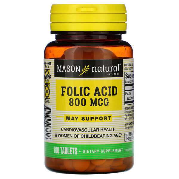 Mason Natural, Folic Acid, 800 mcg, 100 Tablets