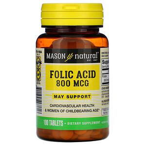 Масон Натуралс, Folic Acid, 800 mcg, 100 Tablets отзывы