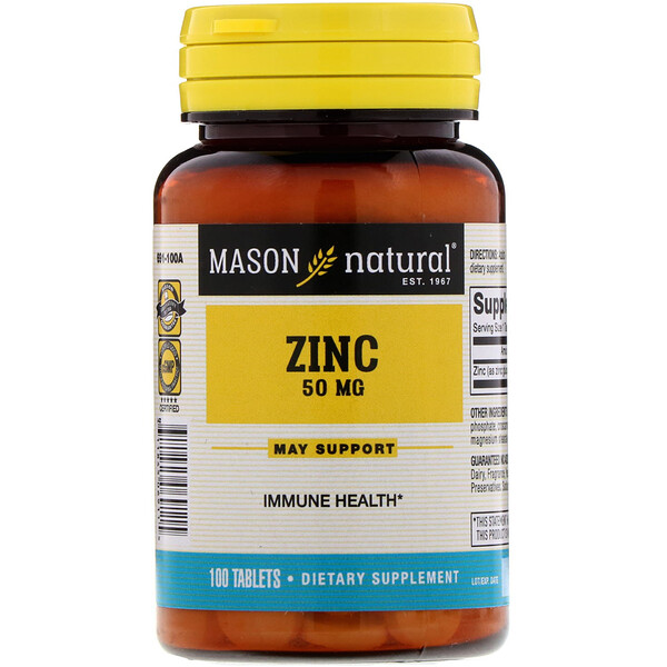 Mason Natural, Zinc, 50 mg, 100 Tablets
