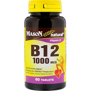Mason Natural, B12, 1000 mcg, 60 Tablets