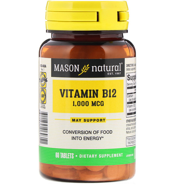 Mason Natural, Vitamin B12, 1000 mcg, 60 Tablets