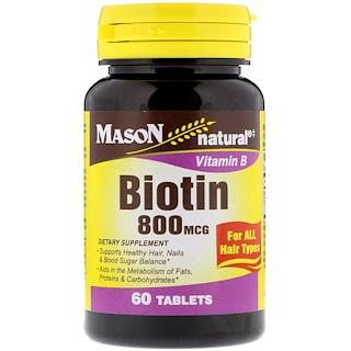 Mason Natural, Biotin, 800 mcg, 60 Tablets