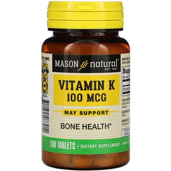 Mason Natural, Vitamin K, 100 mcg, 100 Tablets