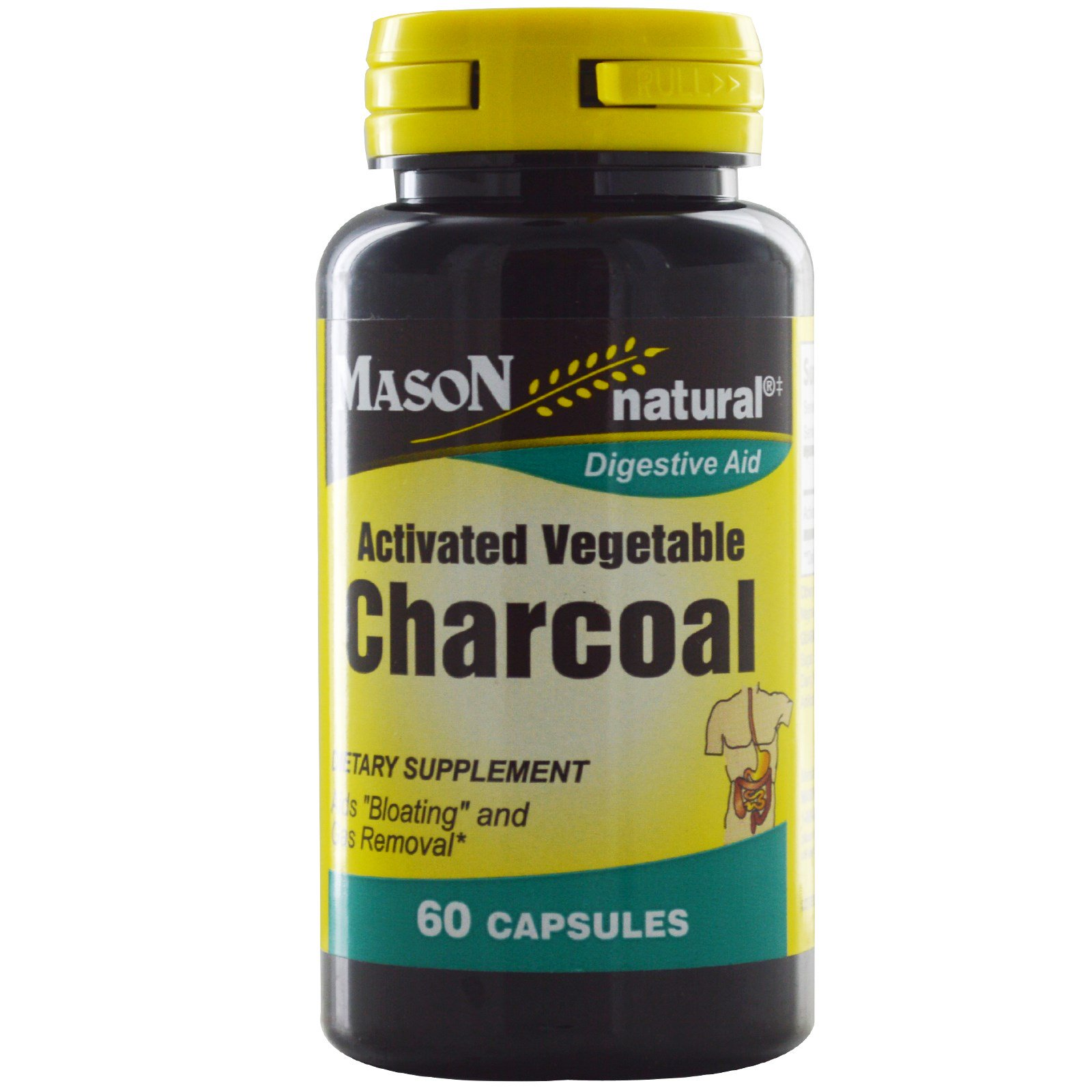 Mason Naturals, Активированный Растительный Уголь, 60 Капсул