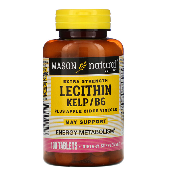 Mason Natural, Lecithin Kelp/B6 Plus Apple Cider Vinegar, Extra Strength, 100 Tablets