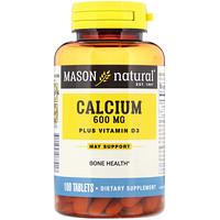 Calcium Plus Vitamin D3, 600 mg, 100 Tablets - фото