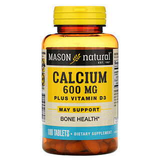Mason Natural, Calcium Plus Vitamin D3, 600 mg, 100 Tablets