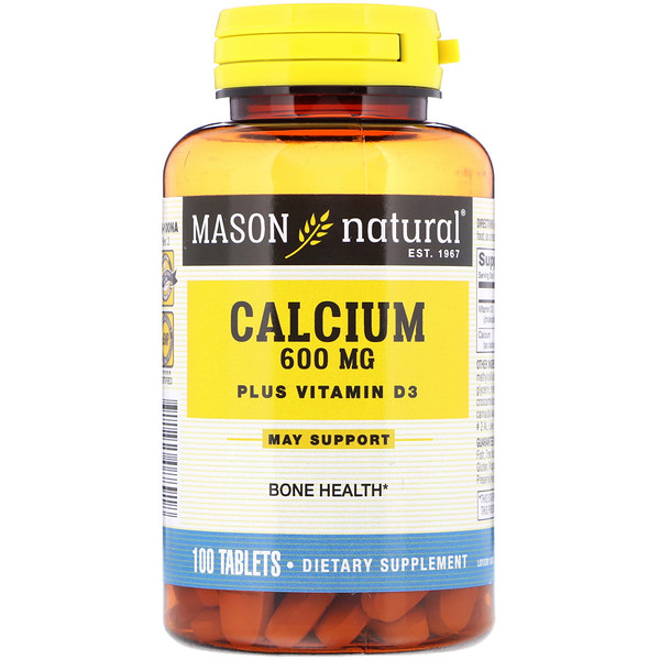 Mason Natural, Calcium Plus Vitamin D3, 600 mg, 100 Tablets