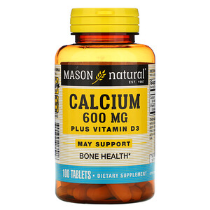 Масон Натуралс, Calcium Plus Vitamin D3, 600 mg, 100 Tablets отзывы