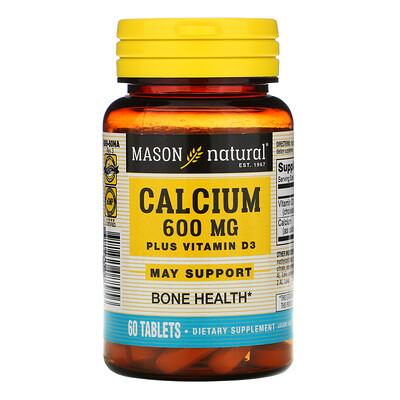 Mason Natural Calcium Plus Vitamin D3, 600 mg, 60 Tablets