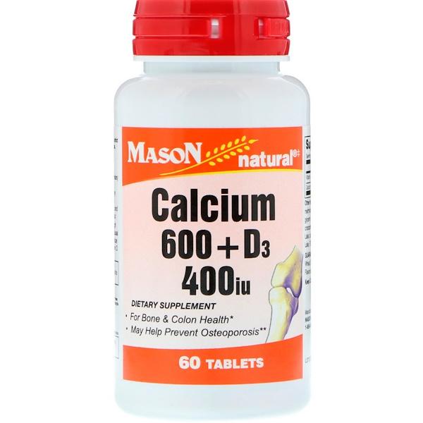 Mason Natural, 鈣 600 + 維生素 D3,400 IU,60 片