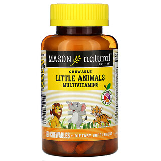 Mason Natural, Little Animals Multivitamins, Fruity Flavors, 120 Chewables