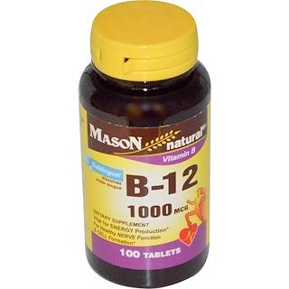 Mason Naturals, Vitamin B-12, 1000 mcg, 100 Tablets