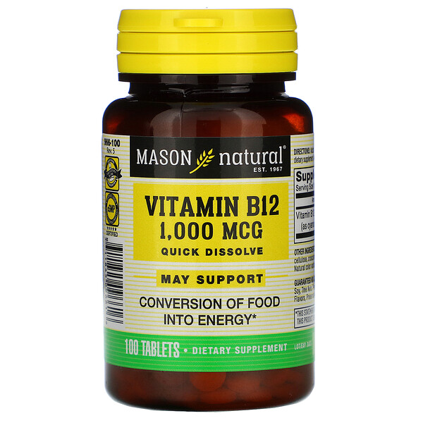 Mason Natural, Vitamin B-12, Quick Dissolve, 1,000 mcg, 100 Tablets