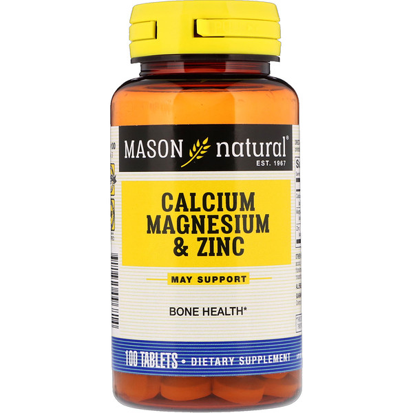 Mason Natural, Calcium Magnesium & Zinc, 100 Tablets