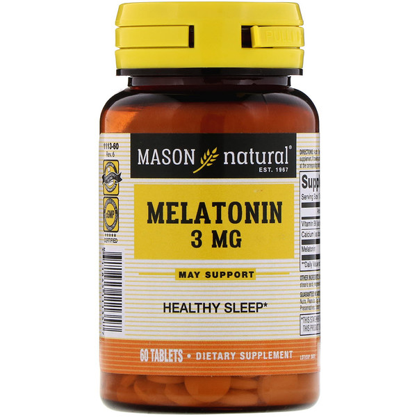 Mason Natural, Melatonin, 3 mg, 60 Tablets