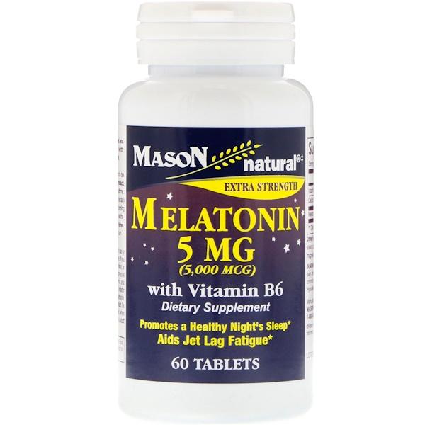 Mason Natural, Melatonin, 5 mg , 60 Tablets