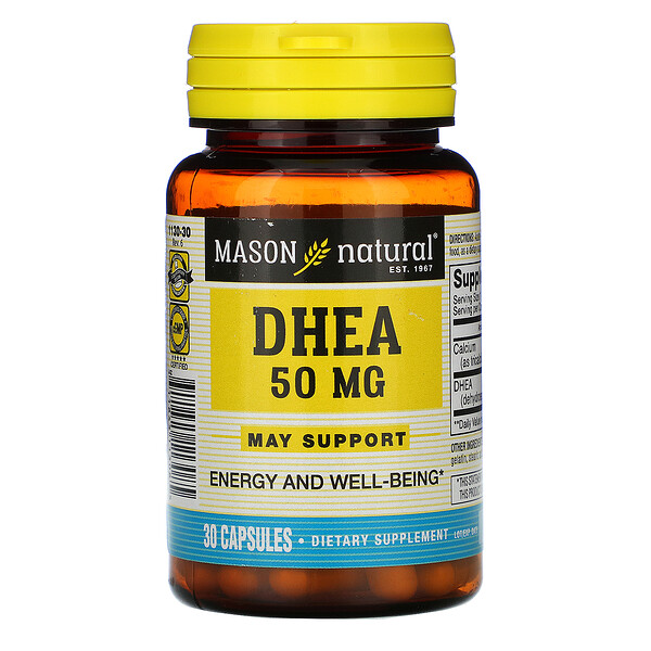 Mason Natural, DHEA, 50 mg, 30 cápsulas