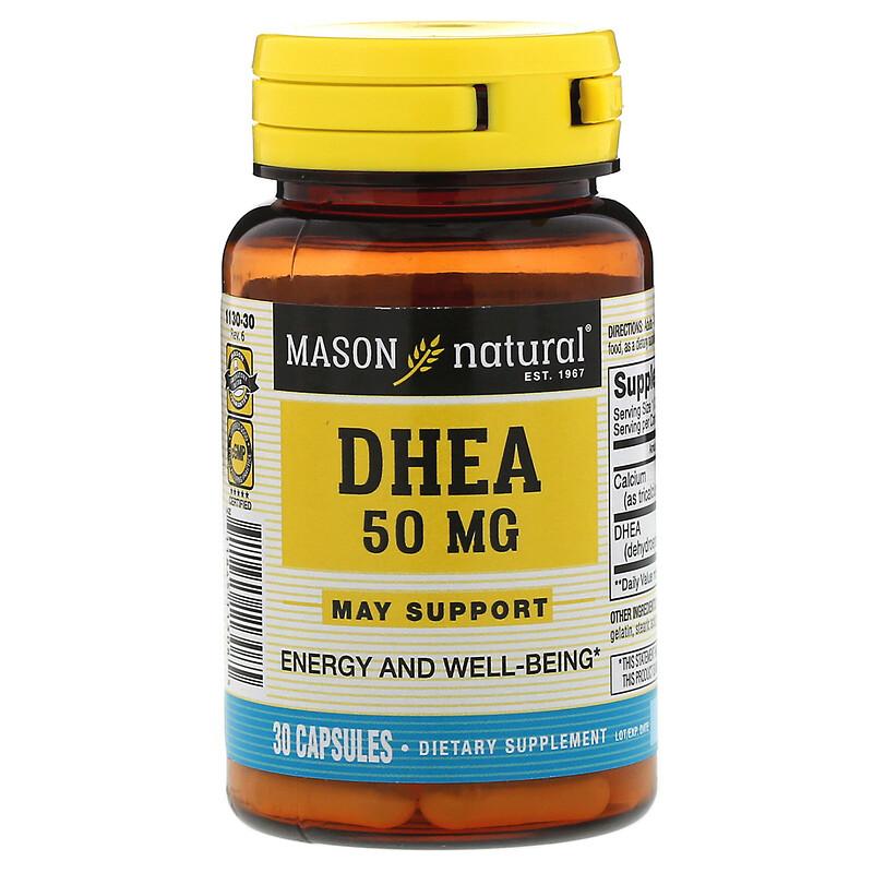 Mason Natural, DHEA,50 毫克,30 粒膠囊